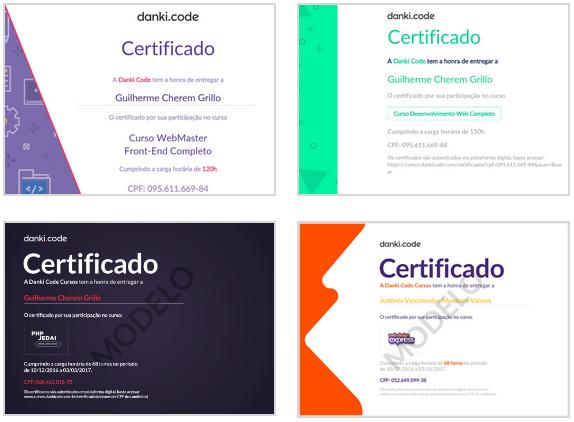 Certificados do Pacote Full-Stack da Danki Code