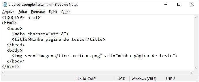 Exemplo de como editar arquivos HTML usando o bloco de notas no Windows