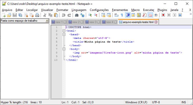 Exemplo de como editar arquivos HTML usando o Notepad++